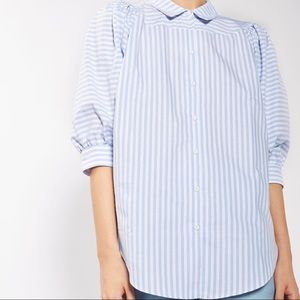 Topshop puff sleeve stripe shirt size 12